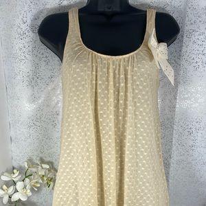Julie's Closet Cream Shirt w/ Lace Overlay & Bow